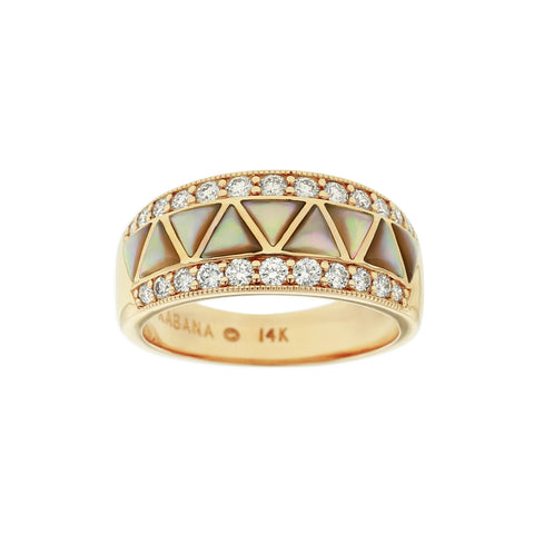 Kabana Spiny Oyster Mother of Pearl Inlay Diamond 14k Yellow Gold Ring