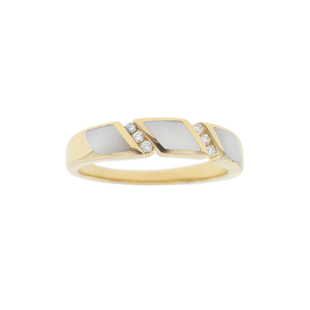 White Mother of Pearl and Diamond Accented Ring in Yellow Gold - Silverscape Designs