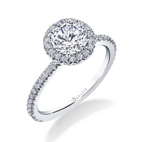 Classic Round Diamond White Gold Halo Engagement Ring - Silverscape Designs