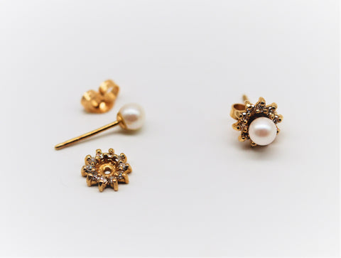 Estate Pearl Stud Earrings w Diamond Jackets