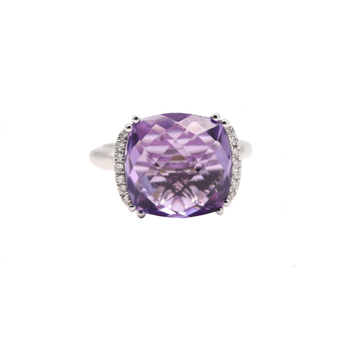 Cushion Shaped Amethyst and Diamond Ring - Silverscape Designs