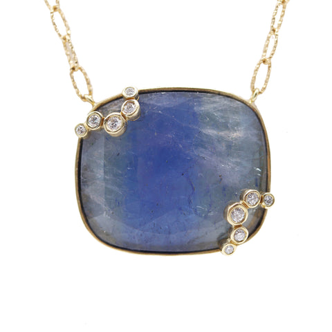 Bold Tanzanite and Diamond 18k Yellow Gold Necklace