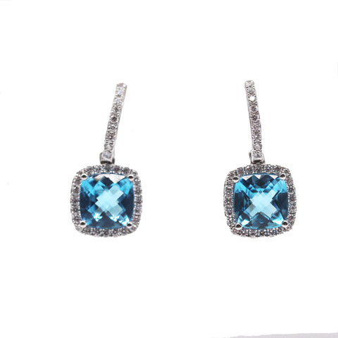 PeJay 4.52 Carat Chekerboard Blue Topaz .61 TCW Diamond Halo Earrings