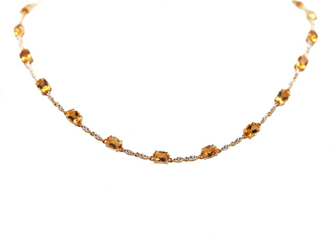 Citrine and Diamond Link Necklace