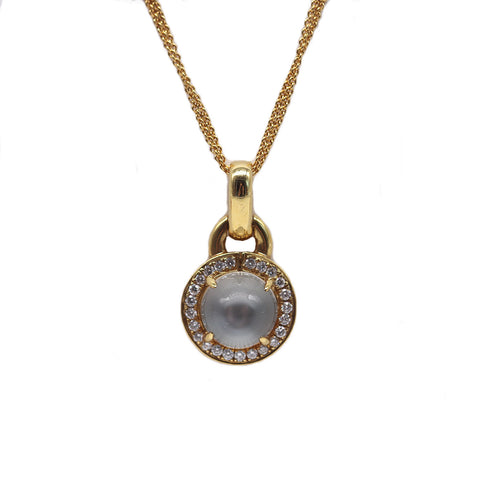 Frederic Sage 4.44 Carat Bold Moonstone and .33 Total Carat Weight Diamond 18k Yellow Gold Necklace