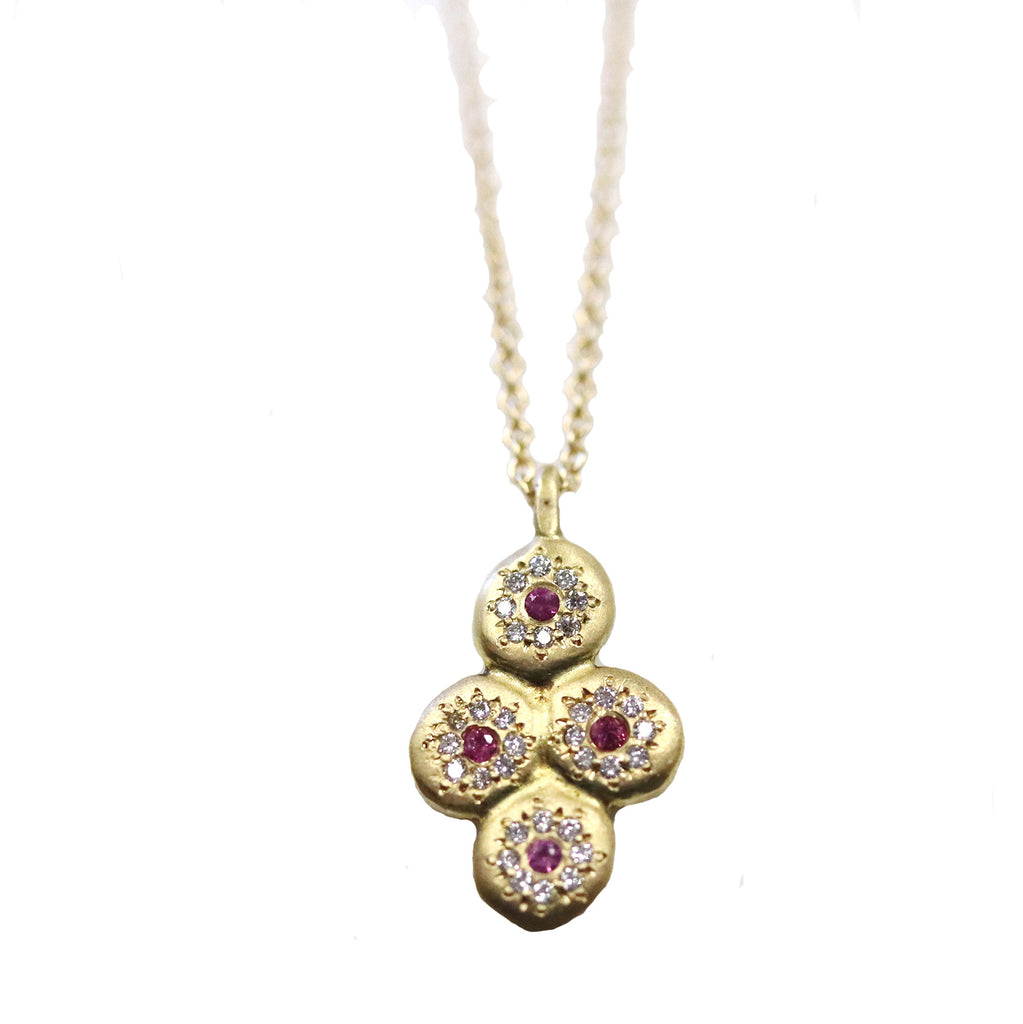 Pink Sapphire and Diamond Circle Necklace