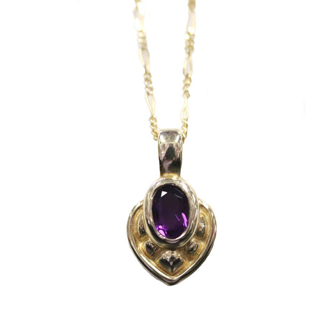 Amethyst and Gold Heart Pendant