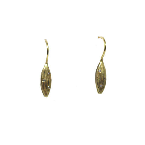18k Yellow Gold Diamond Rice Dangle Earrings