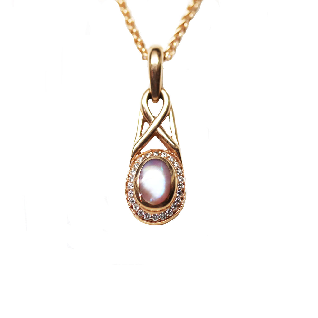Kabana Pink Mother of Pearl Rose Gold Pendant - Silverscape Designs