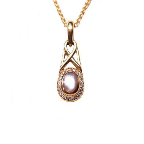 Kabana Pink Mother of Pearl 14k Rose Gold Pendant