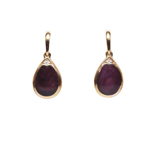 Kabana Purple Spiney Oyster and Diamond 14k Rose Gold Drop Earrings