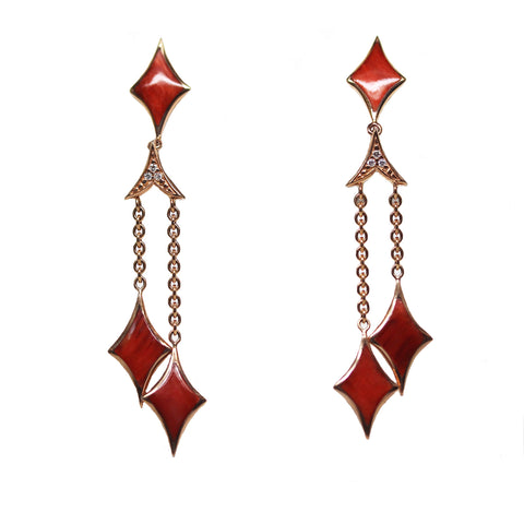 Red Spiney Oyster and Diamond Rose Gold Dangle Earrings - Silverscape Designs