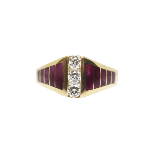 Kabana Purple Spiney Oyster and Diamond 14k Yellow Gold Ring