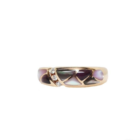 Kabana Purple Spiny Oyster Mother of Pearl Inlay with Diamonds 14k Rose Gold Band