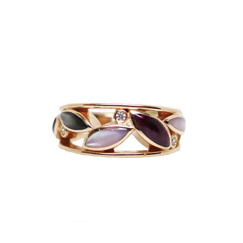 Kabana Purple Spiny Oyster Mother of Pearl and Diamond Inlaid Open Leaf 14k Rose Gold Ring