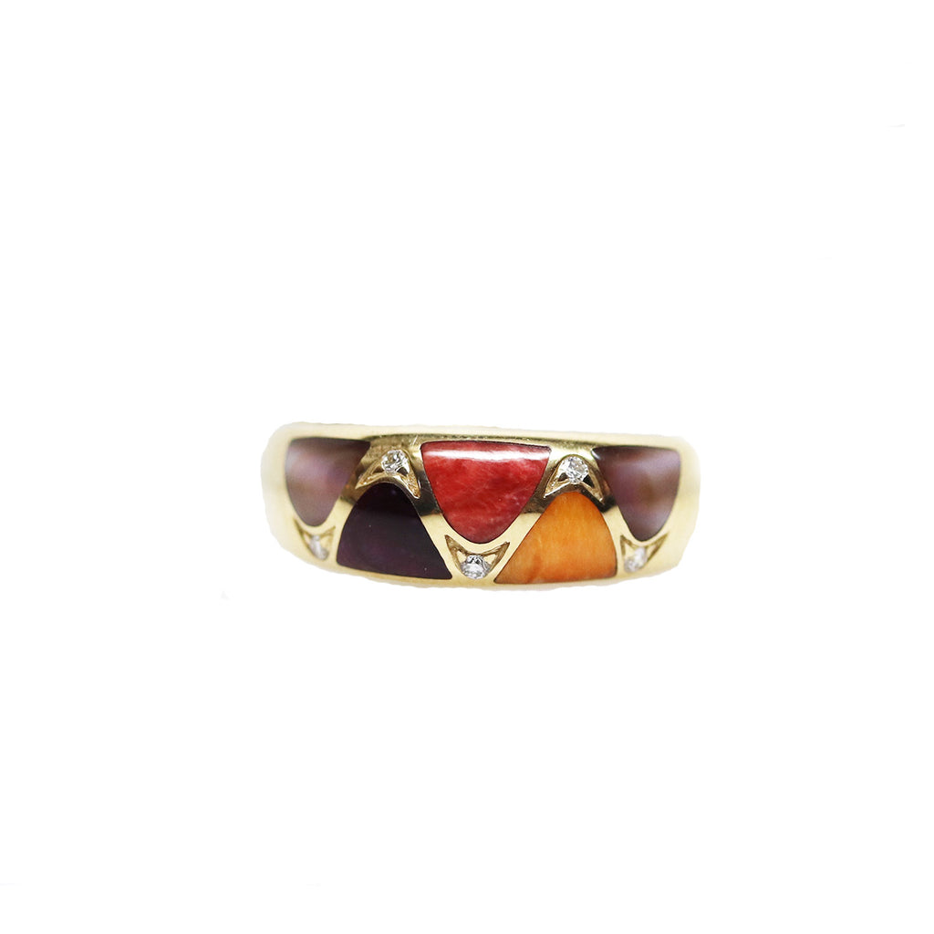 Multi Color Spiney Oyster and Diamond Wave Yellow Gold Ring - Silverscape Designs