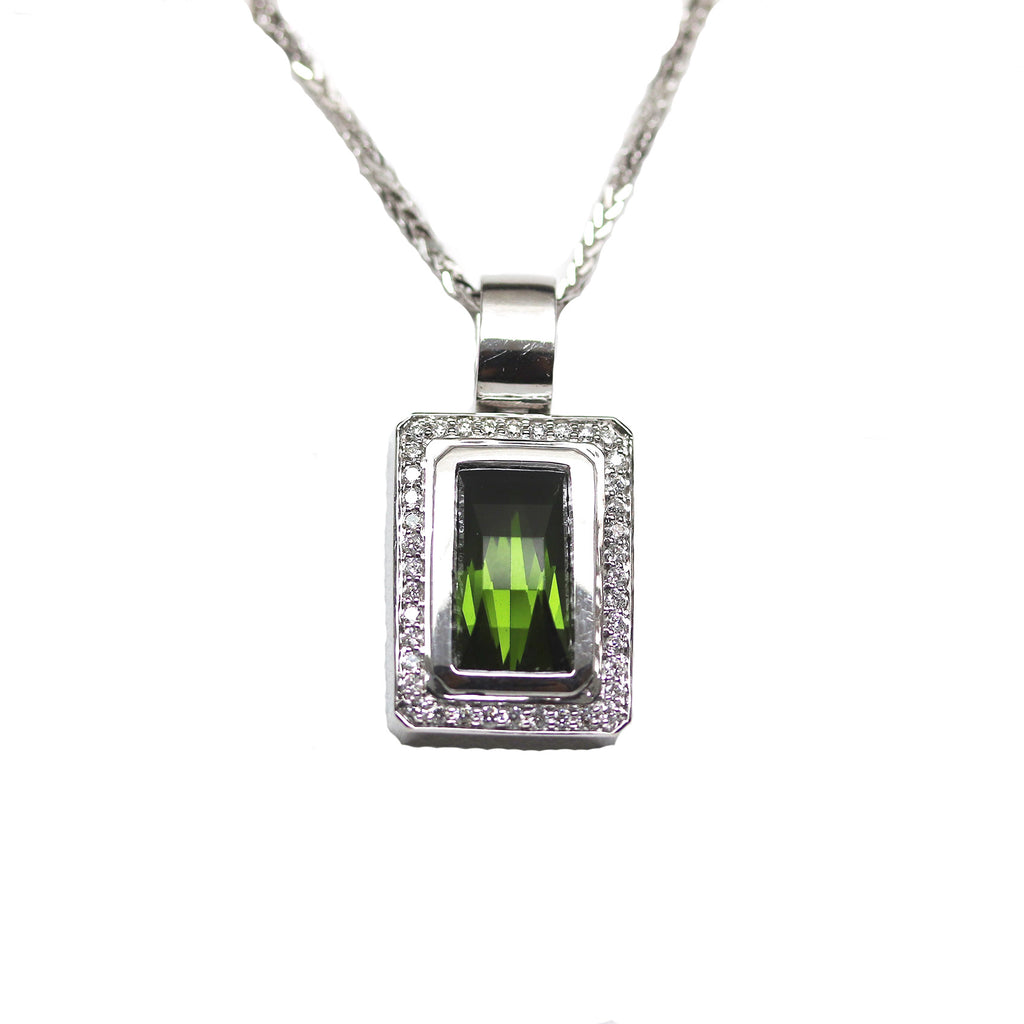 White Gold and Green Tourmaline Pendant - Silverscape Designs