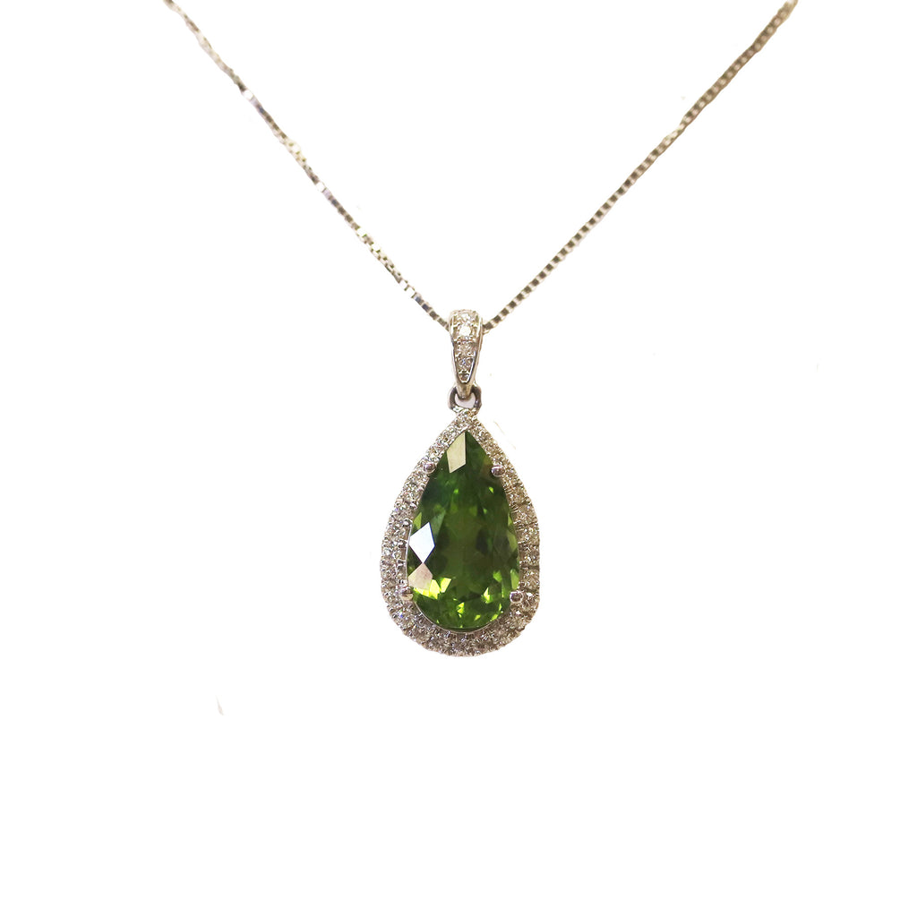 Bold Peridot Diamond Halo 14k White Gold Pendant