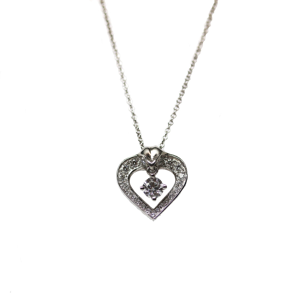 Lazare Floating Heart Diamond Platinum Necklace