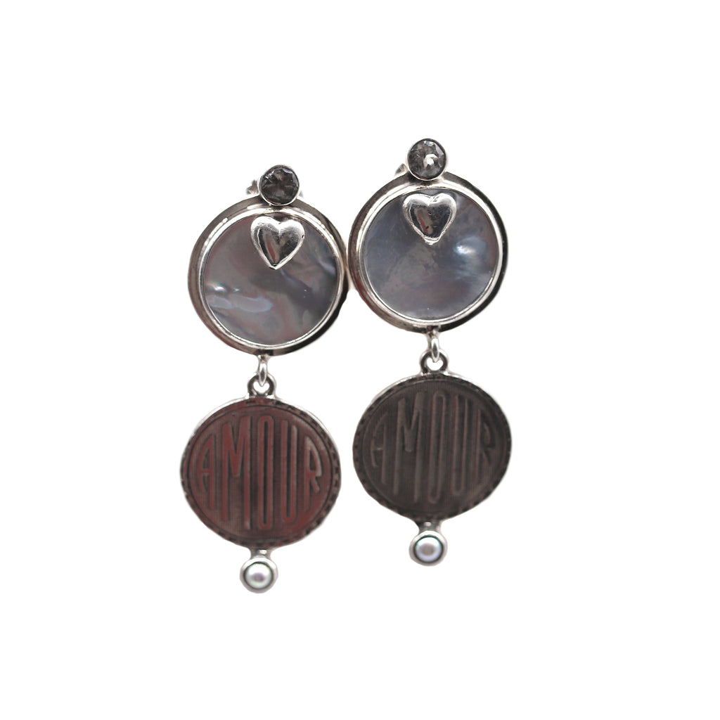 Echo of the dreamer sterling silver and mother of pearl love stud earrings