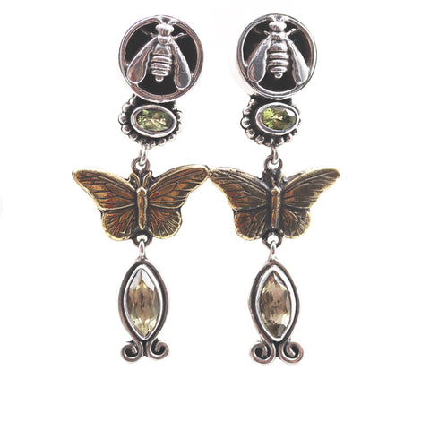 Insect Mixed Metal With Peridot Earrings - Silverscape Designs
