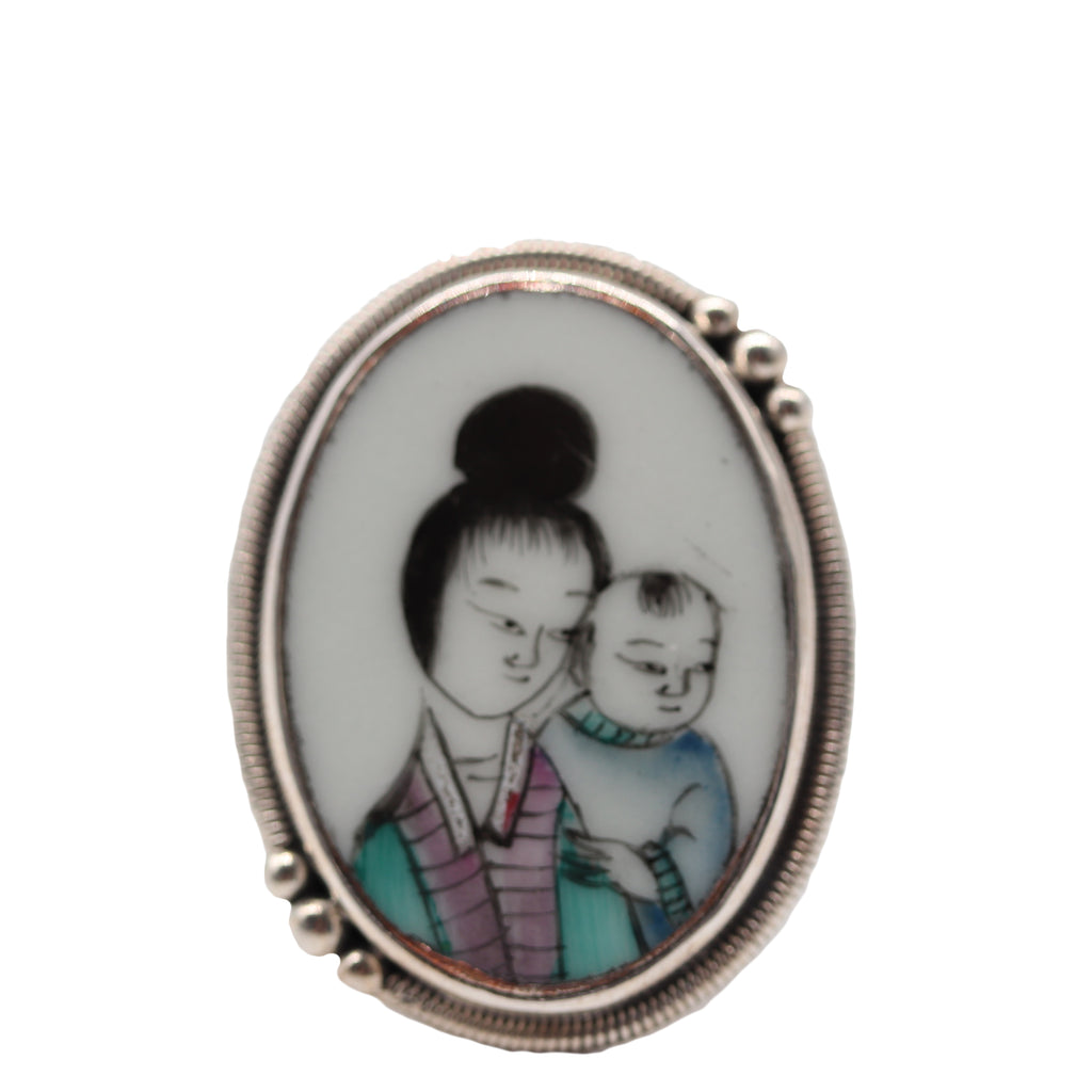 Echo of the Dreamer Sterling Silver Japanese China Mother and Child Ring