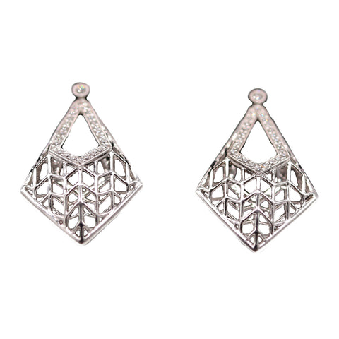 Coast Open .23 Total Carat Weight Diamond 14k White Gold Earrings Kite Earrings
