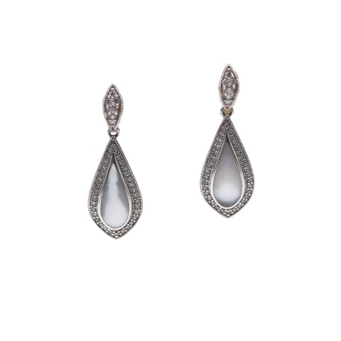 Kabana Inlaid Mother of Pearl and Diamond 14k White Gold Earrings