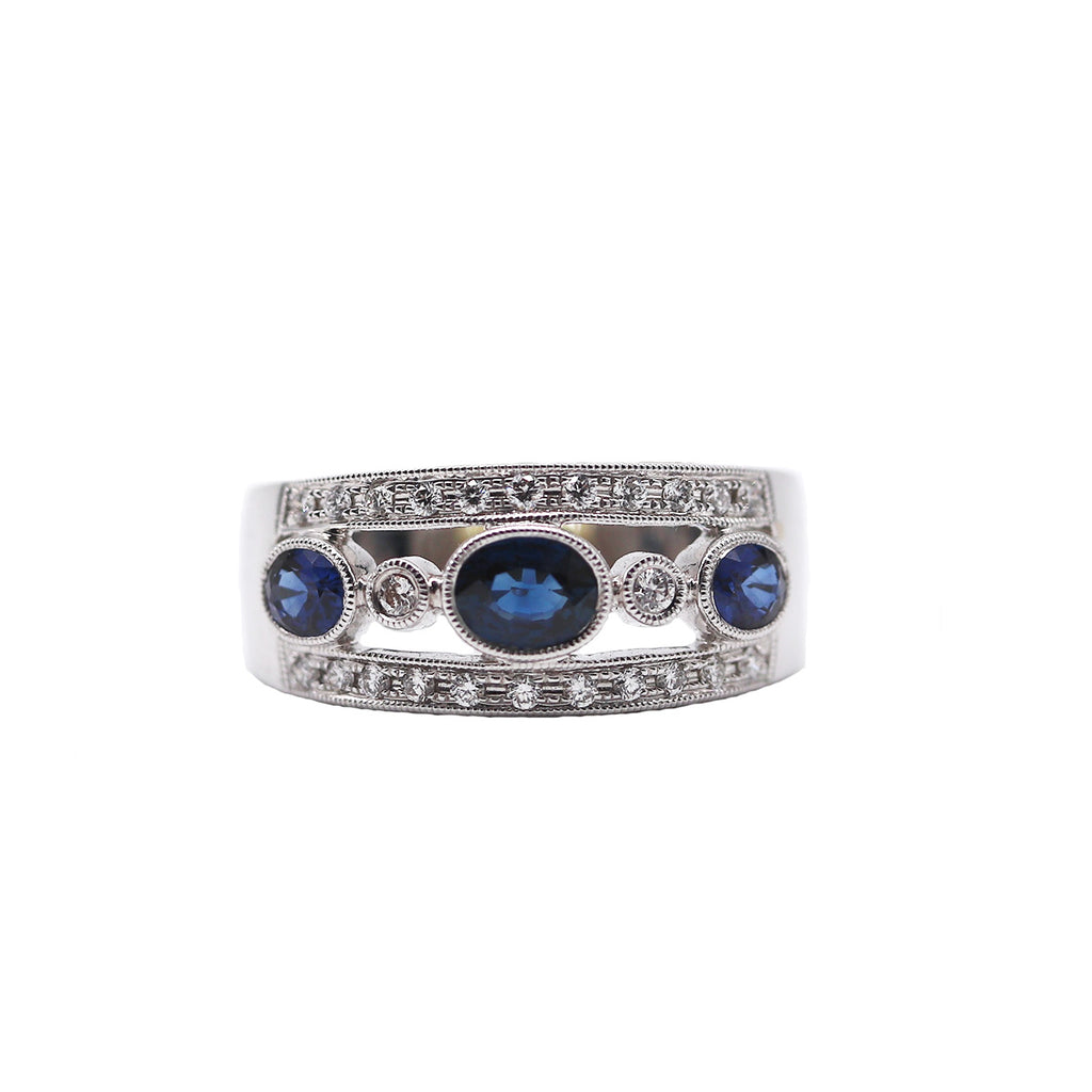 Sapphire and Diamond Band - Silverscape Designs