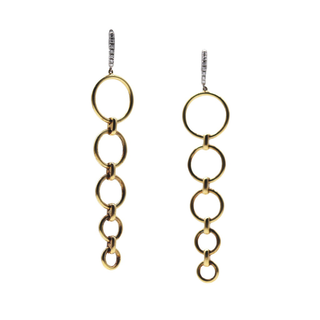 Suna Brother 18k Yellow Gold Graduated Circle Dangle Earrings