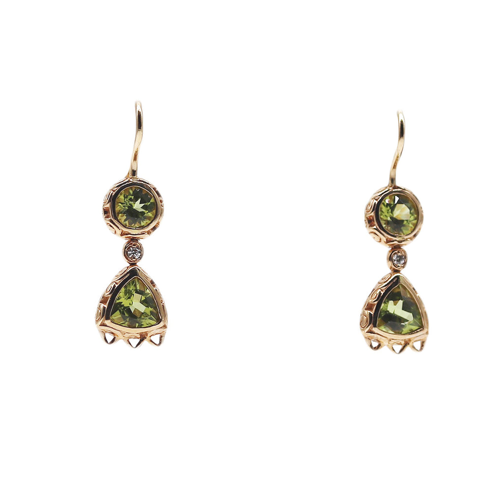 Engraved Peridot and Diamond Earrings