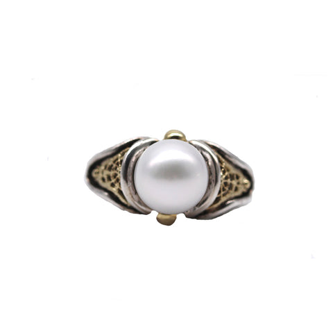 Sterling Silver and 18 Karat Gold Pearl Ring