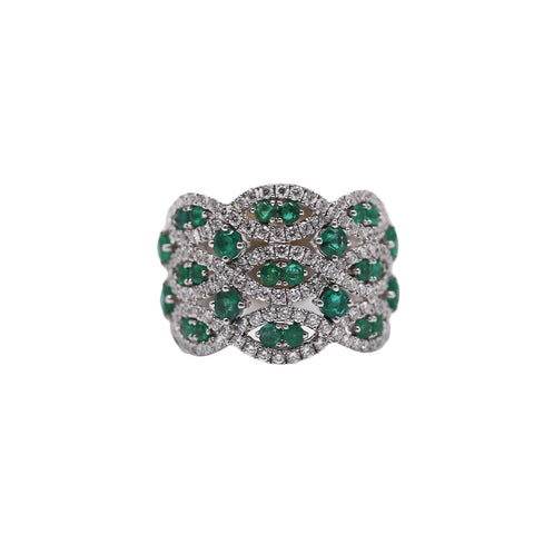 Wide Emerald and Diamond Band