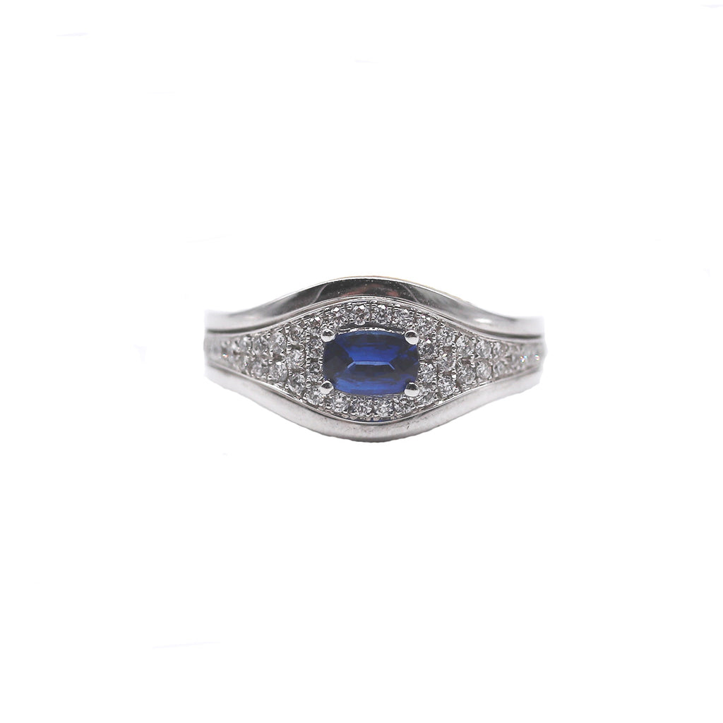 Blue Sapphire Oval and Diamond White Gold Ring - Silverscape Designs