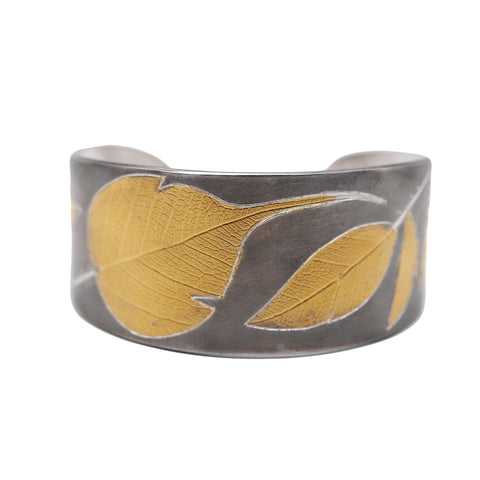 Fine Silver and 24K Leaf Cuff - Silverscape Designs