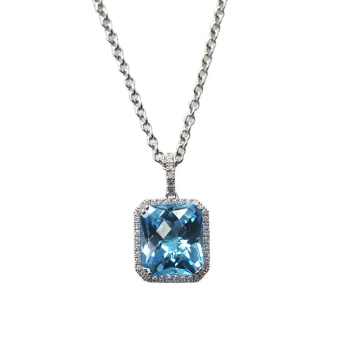 PeJay Bold 7.15 Carat Swiss Blue Topaz .26TCW Diamond Halo 18k White Gold Necklace