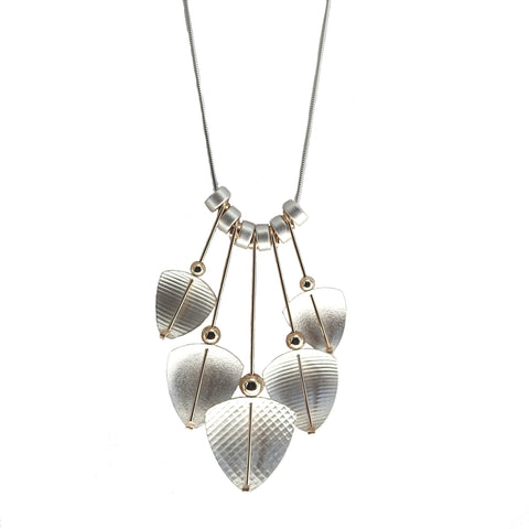 Carolyn Zakarija Sterling Silver and Gold Brushed Five Shield Shape Necklace