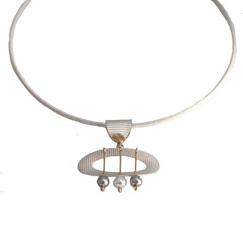 Carolyn Zakarija Sterling Silver and Gold Texture Oval With Pearl and Ball Accented Necklaces