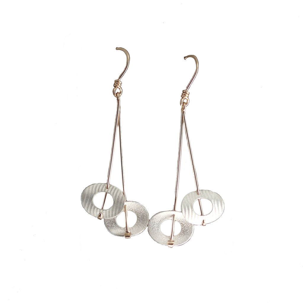 Double Circle Long Dangle Earrings