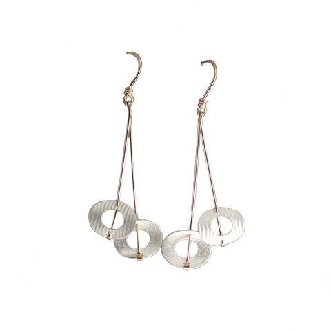 Carolyn Zakarija Sterling Silver Double Circle Long Dangle Earrings