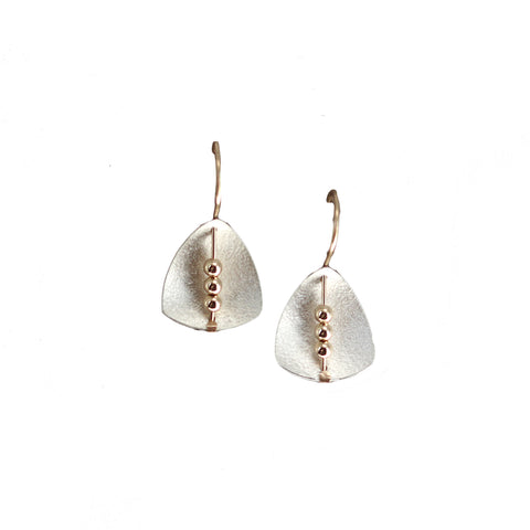 Carolyn Zakarija Sterling Silver Shield Shape with Ball Dangle Earrings