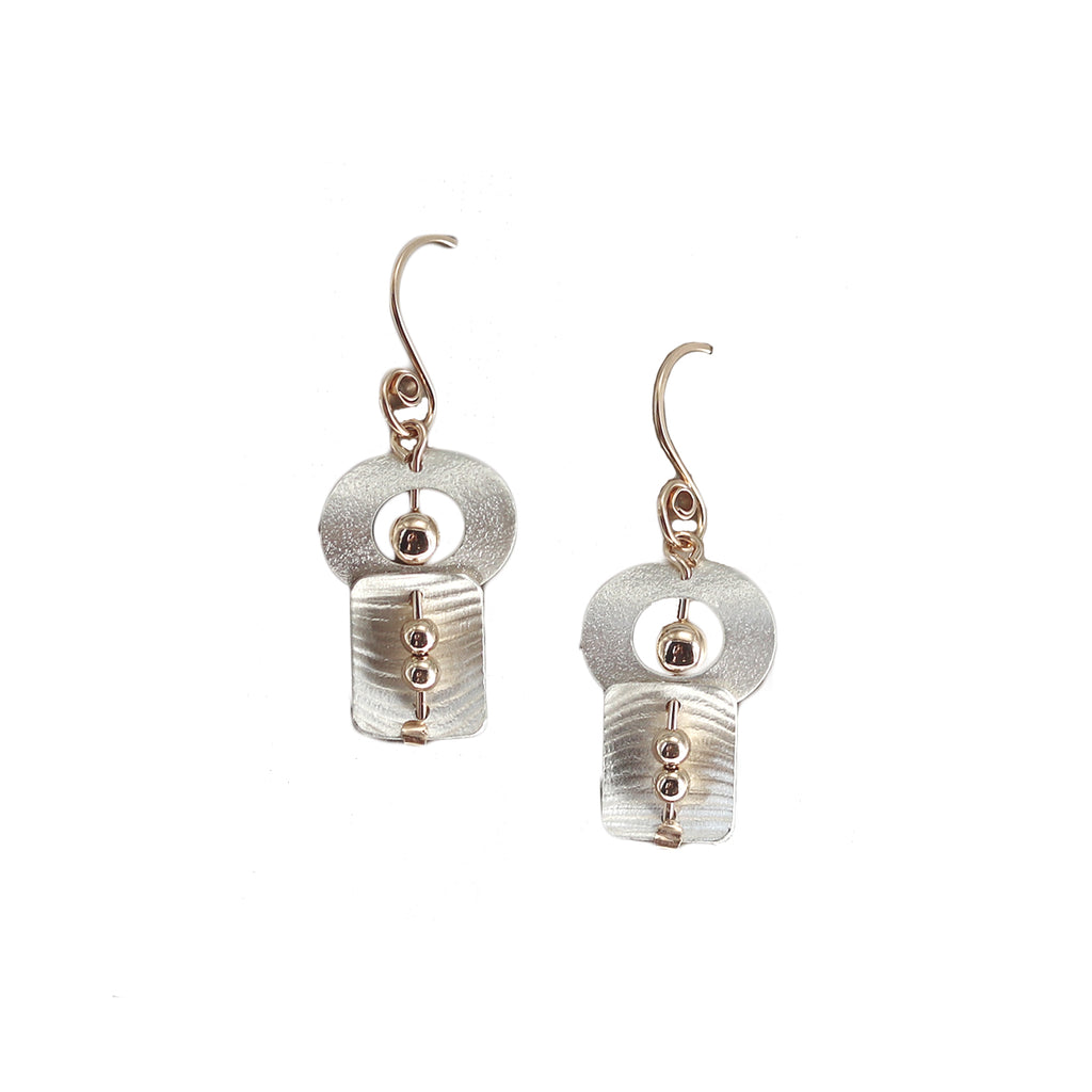Carolyn Zakarija Sterling Silver Circle Paired With Square and Ball Earrings