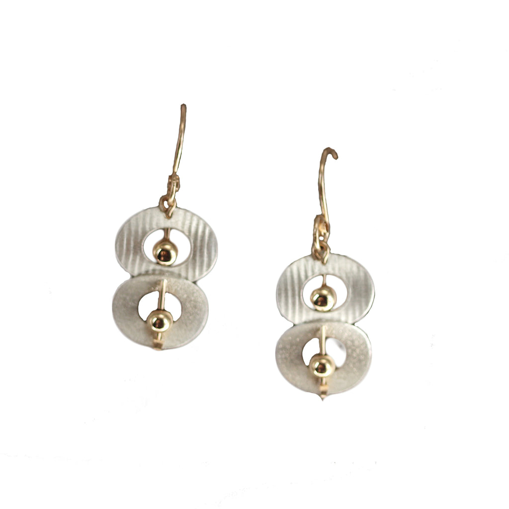 Carolyn Zakarija Sterling Silver Double Circle With Ball Earrings