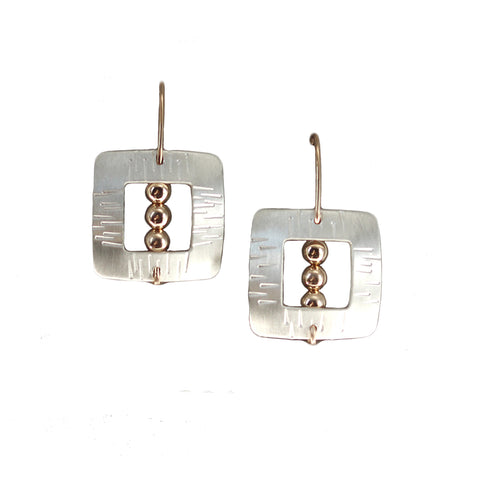 Carolyn Zakarija Sterling SIlver Engraved Square Frame with Ball Earrings