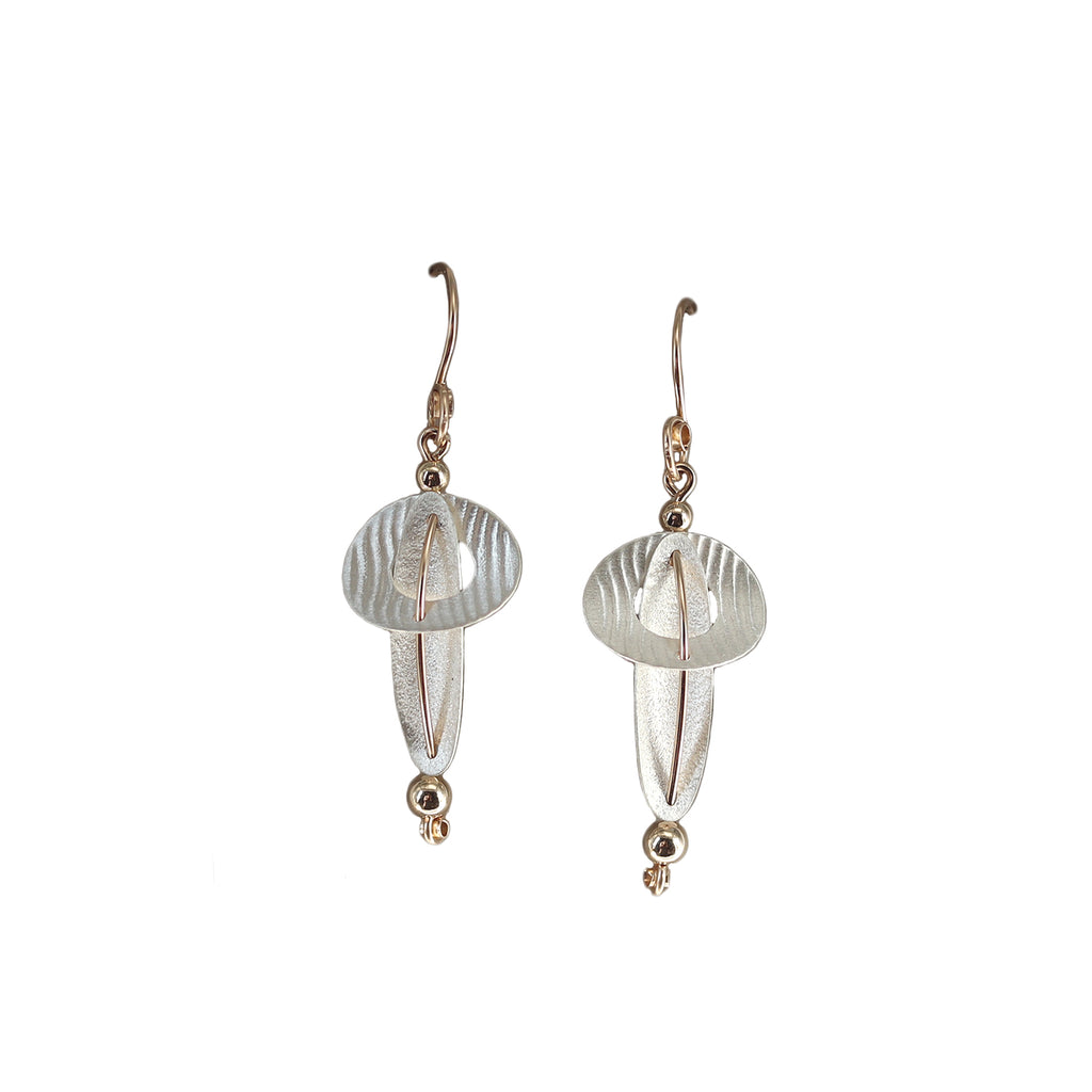 Carolyn Zakarija Sterling Silver Intersecting Ovals and Ball Earrings