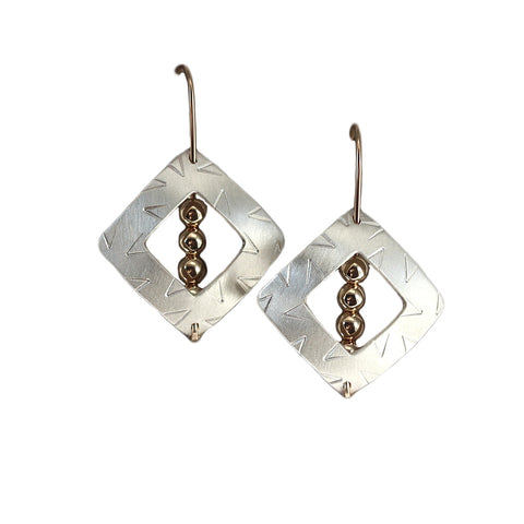 Engraved Square With Three Gold Balls Earrings