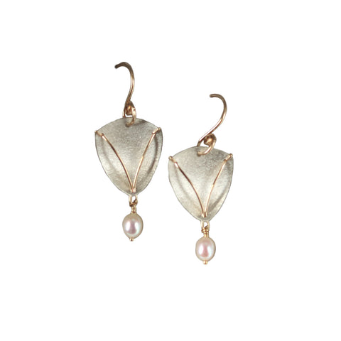 Carolyn Zakarija Sterling Silver Shield Shape With Pearl Dangle Earrings