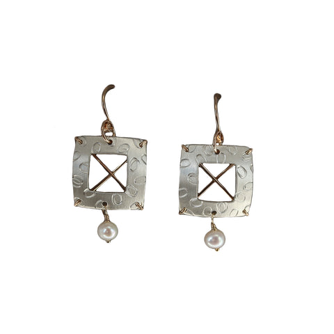 Engraved Square With Pearl Dangle Earring