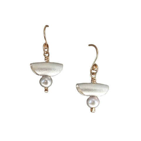 Carolyn Zakarija Sterling Sliver Half Moon Pearl Small Dangle Earrings
