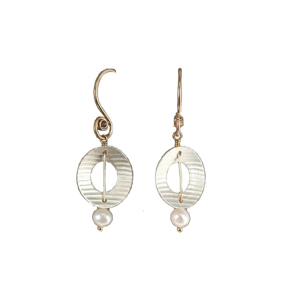 Circle Pearl Dangle Earrings